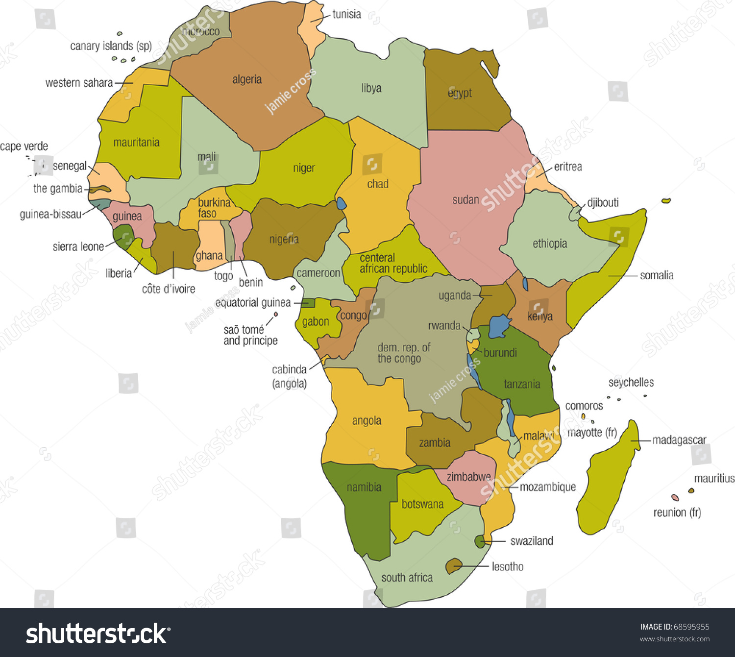 Full color map africa country names ilustracin de stock68595955 a full color map of africa with country names called out gumiabroncs Choice Image