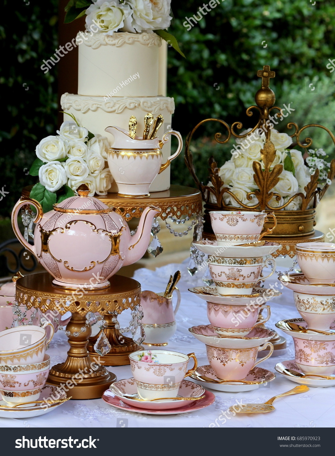 Pink And Gold Vintage High Tea Party Teacups Teapot Cake Stands Wedding