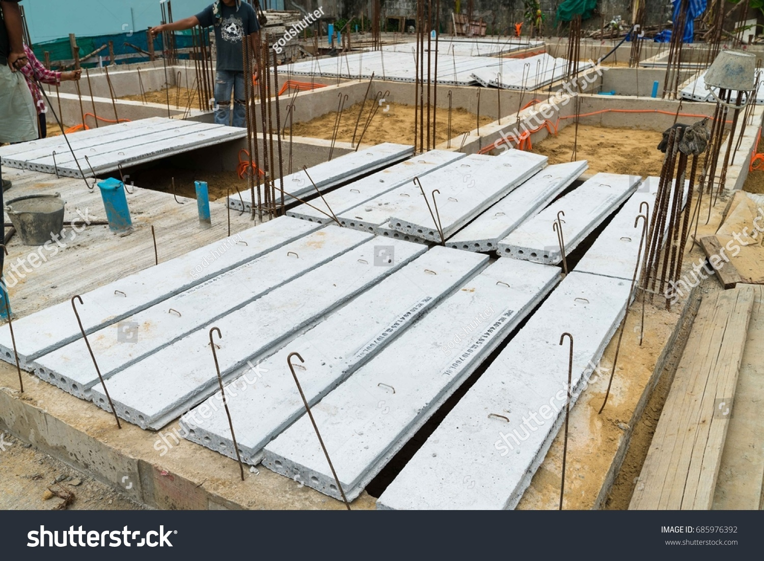 Residential Precast Concrete Slabs : Precast concrete plank slab stock photo