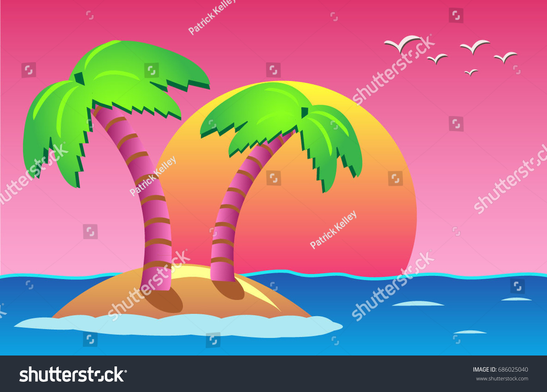 Ocean Island Neon Sunset Background 80s Stock Vector Royalty Free