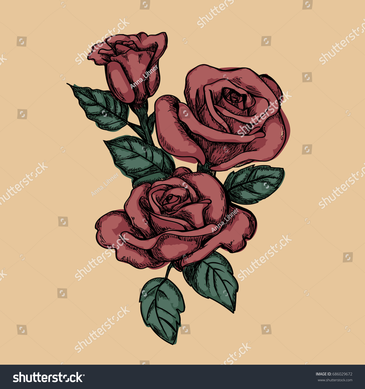 Roses Handdrawn Sketch Tattoo Color Stock Vector Royalty Free 686029672