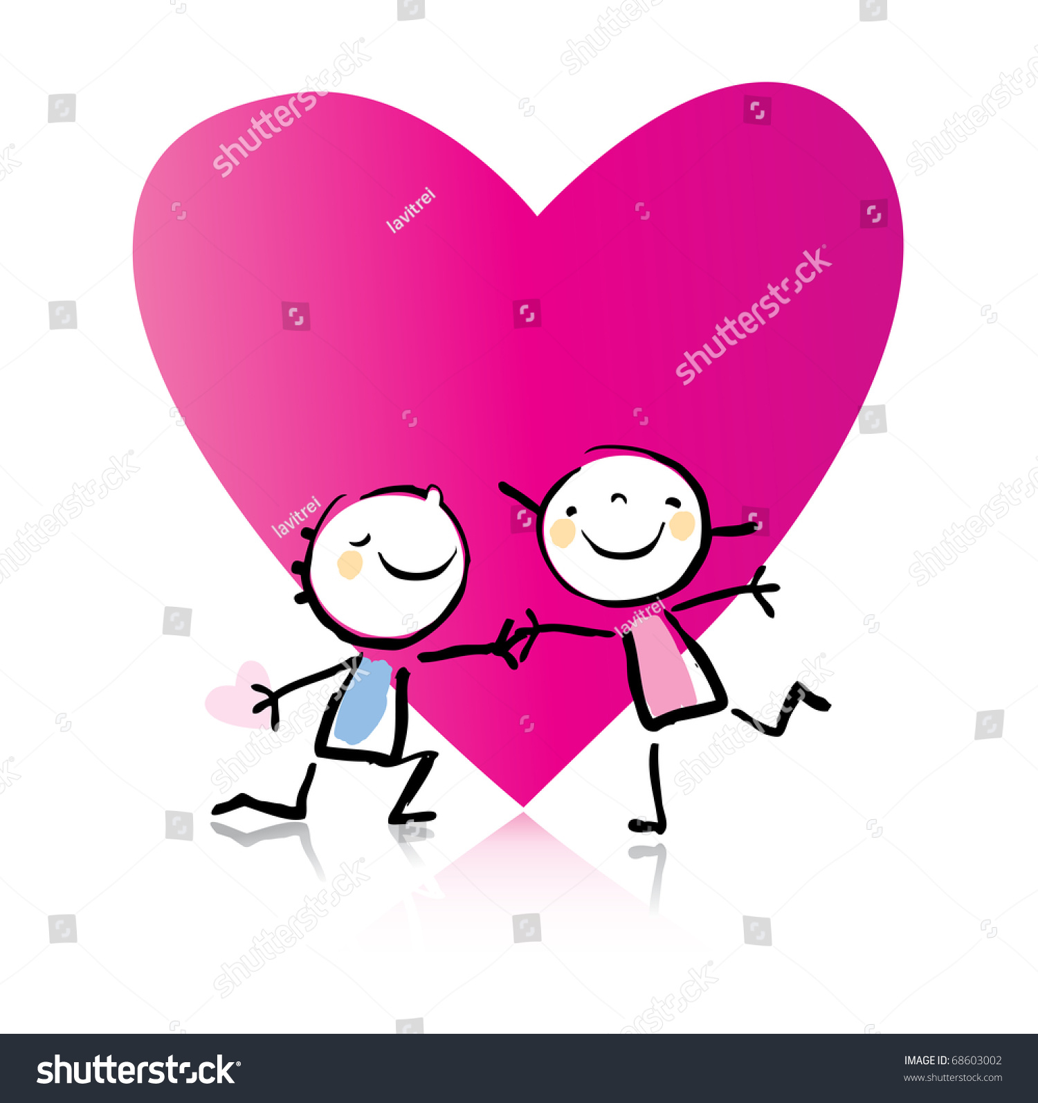 Valentines Day Cartoon Romantic Couple Love Stock Vector Royalty Free 68603002