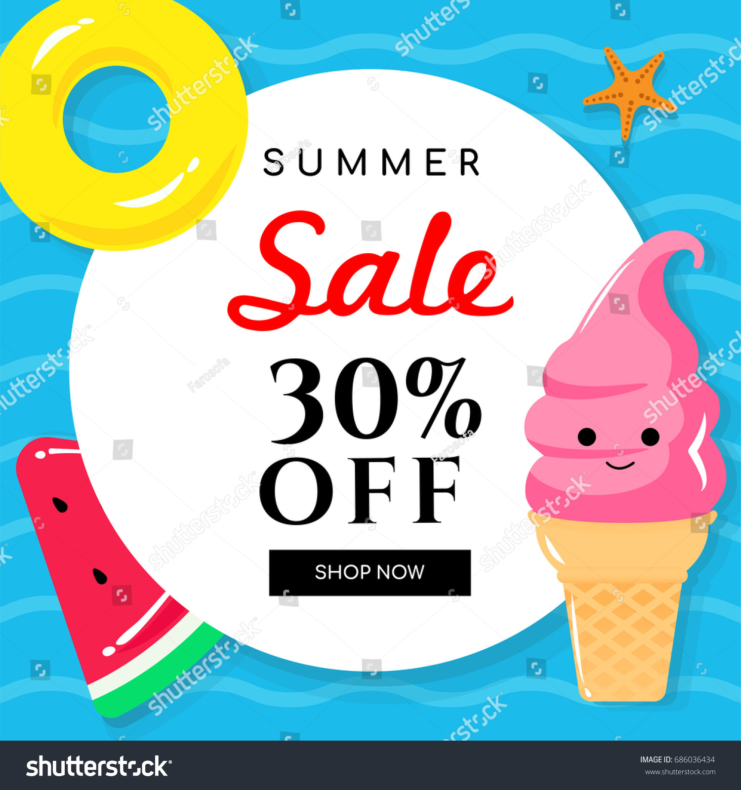 Summer Sale Vector Illustration Pool Toys Stock Vector