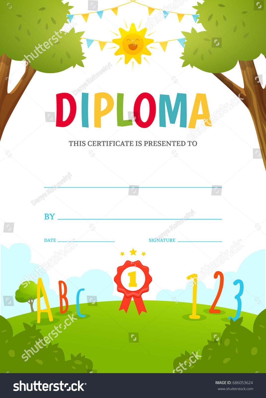 Kids diploma design template kindergarten certificate stock kids diploma design template kindergarten certificate alramifo Image collections