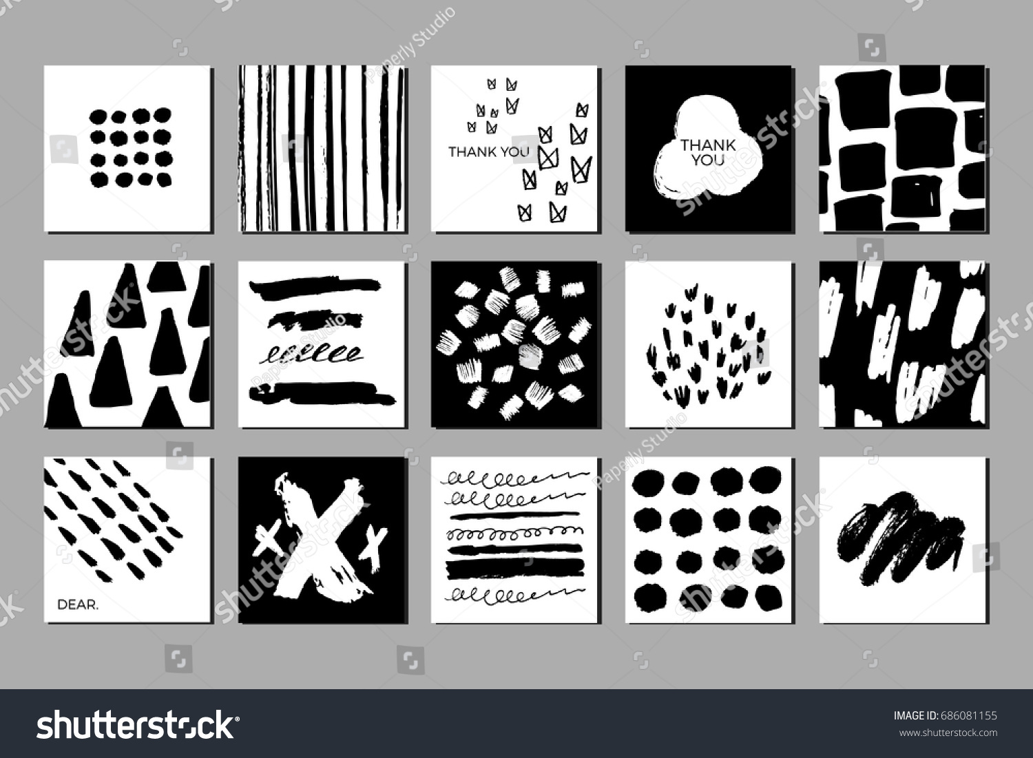 Doodled Creative Black White Greeting Cards Stock Vector 686081155