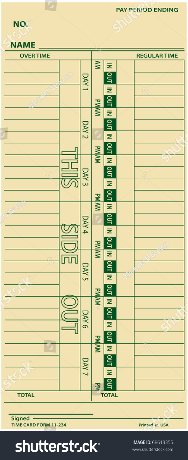 Time Card Punch Business Payroll Time Stock Vector ...