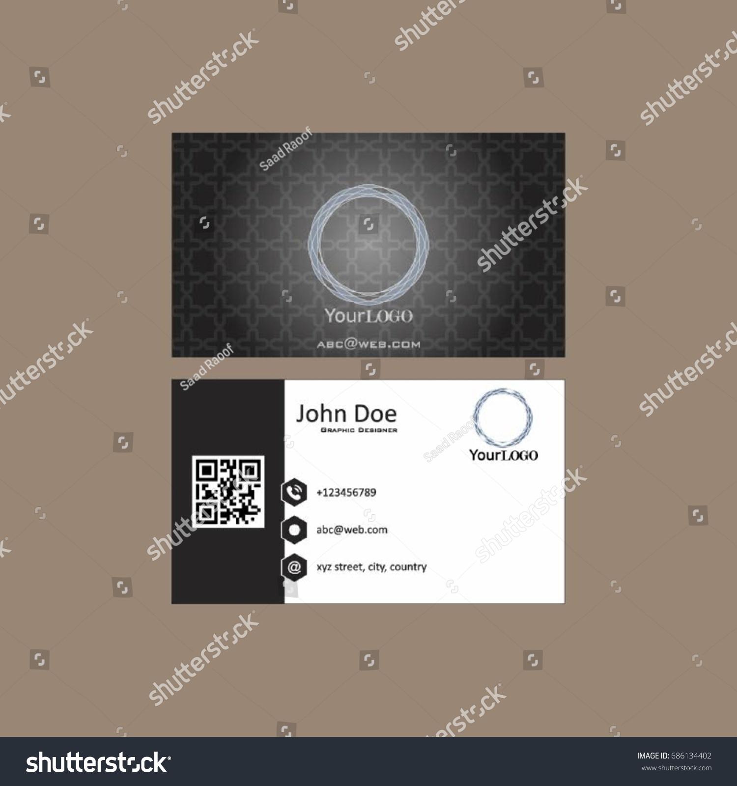 Simple Black Business Card Qr Code Stock Vector 686134402 - Shutterstock