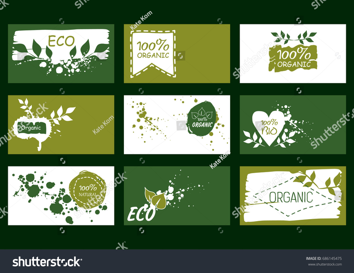Set vector environmental business cards natural stock vector set vector environmental business cards natural stock vector 686145475 shutterstock colourmoves Images