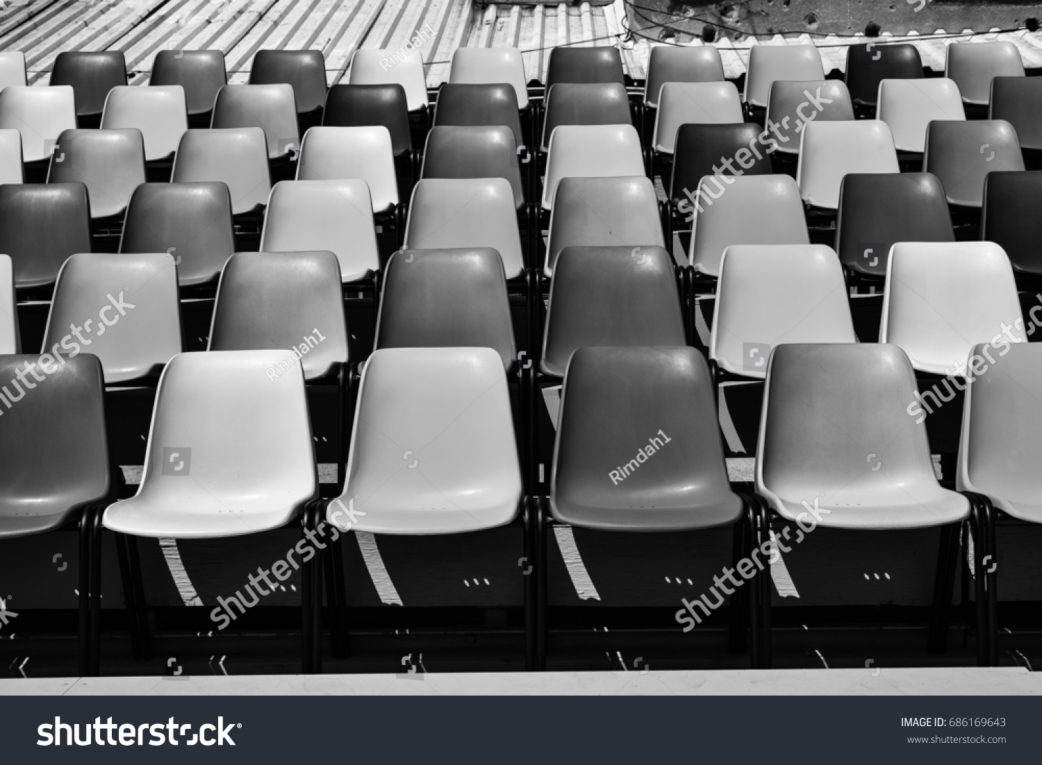 Colorful Plastic Chairs Rows Black White Stock Photo (Royalty Free)  686169643   Shutterstock