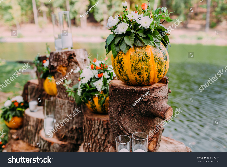 Beautiful Wedding Decoration Autumn Wedding Orange Stockfoto Jetzt