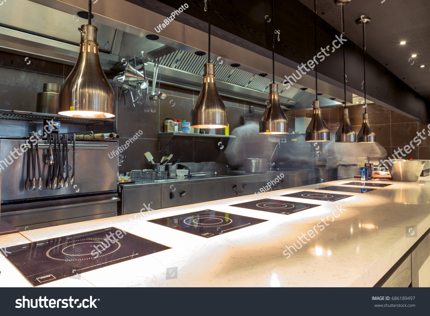Restaurant kitchen interior bar counter made stock photo