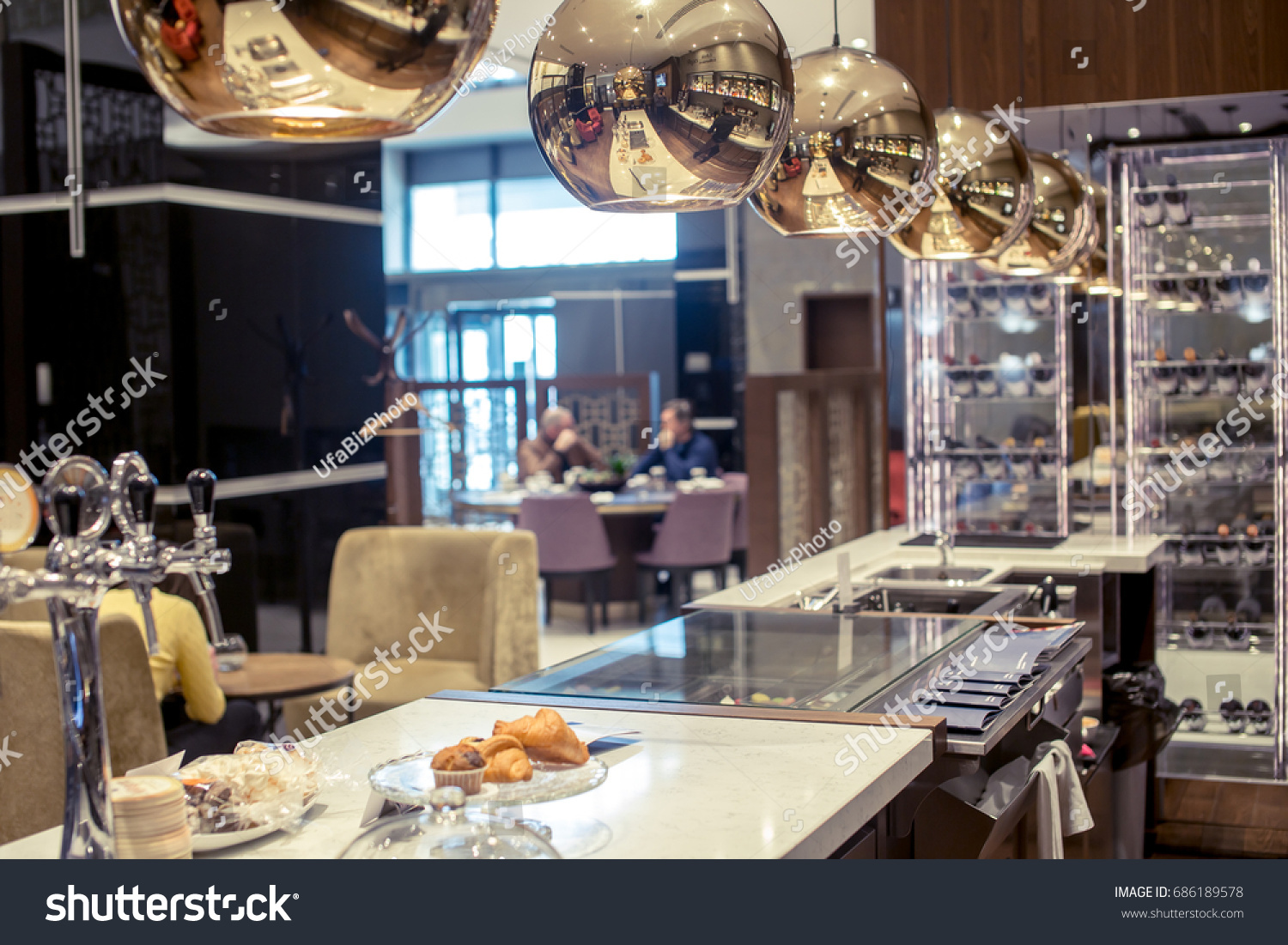 Restaurant Kitchen Interior Bar Counter Made Royalty Free