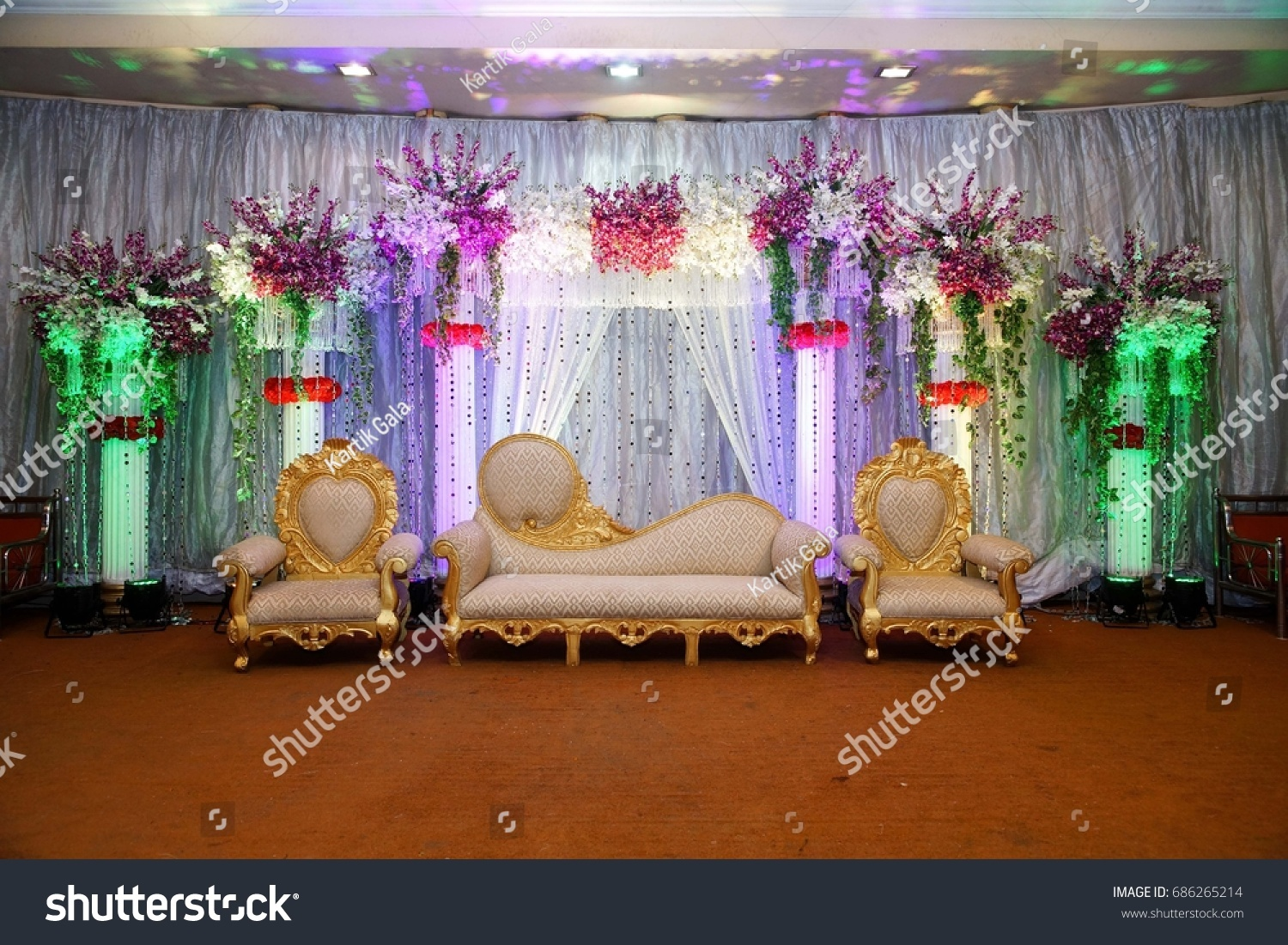 Wedding Stage Floral Background Lighting Stock Photo Edit Now