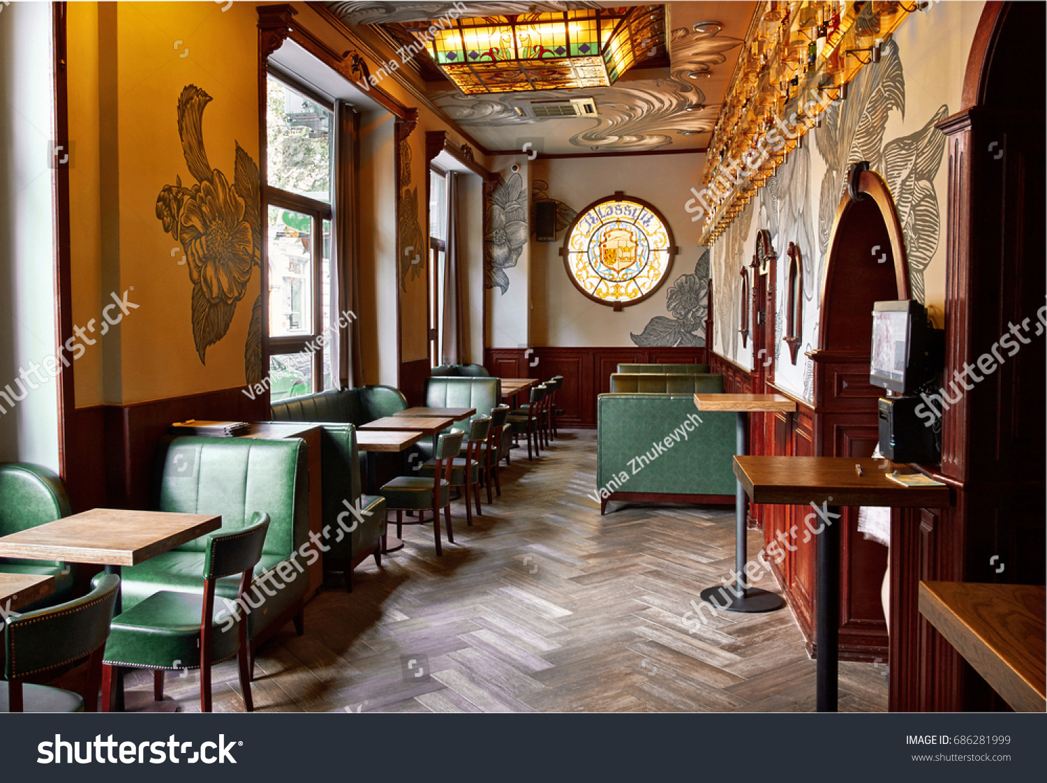 Old Classic Vintage Bar Pub Interior With Stock Photo (Edit Now ...