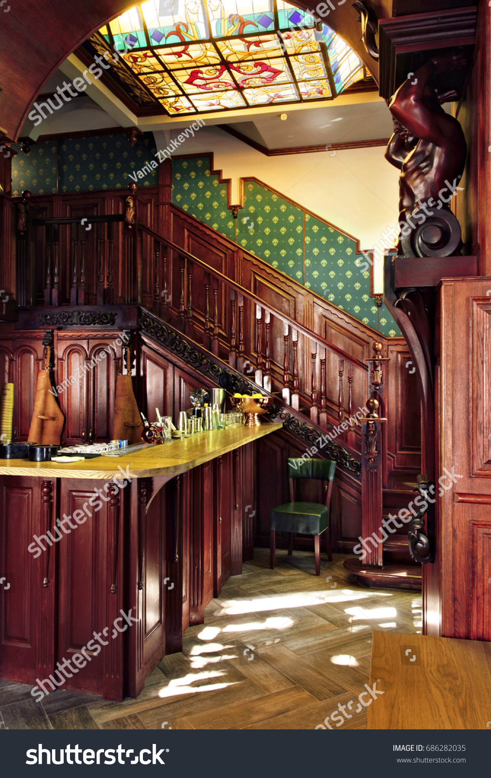 Old Classic Vintage Bar Pub Interior With Stock Photo (Royalty Free ...