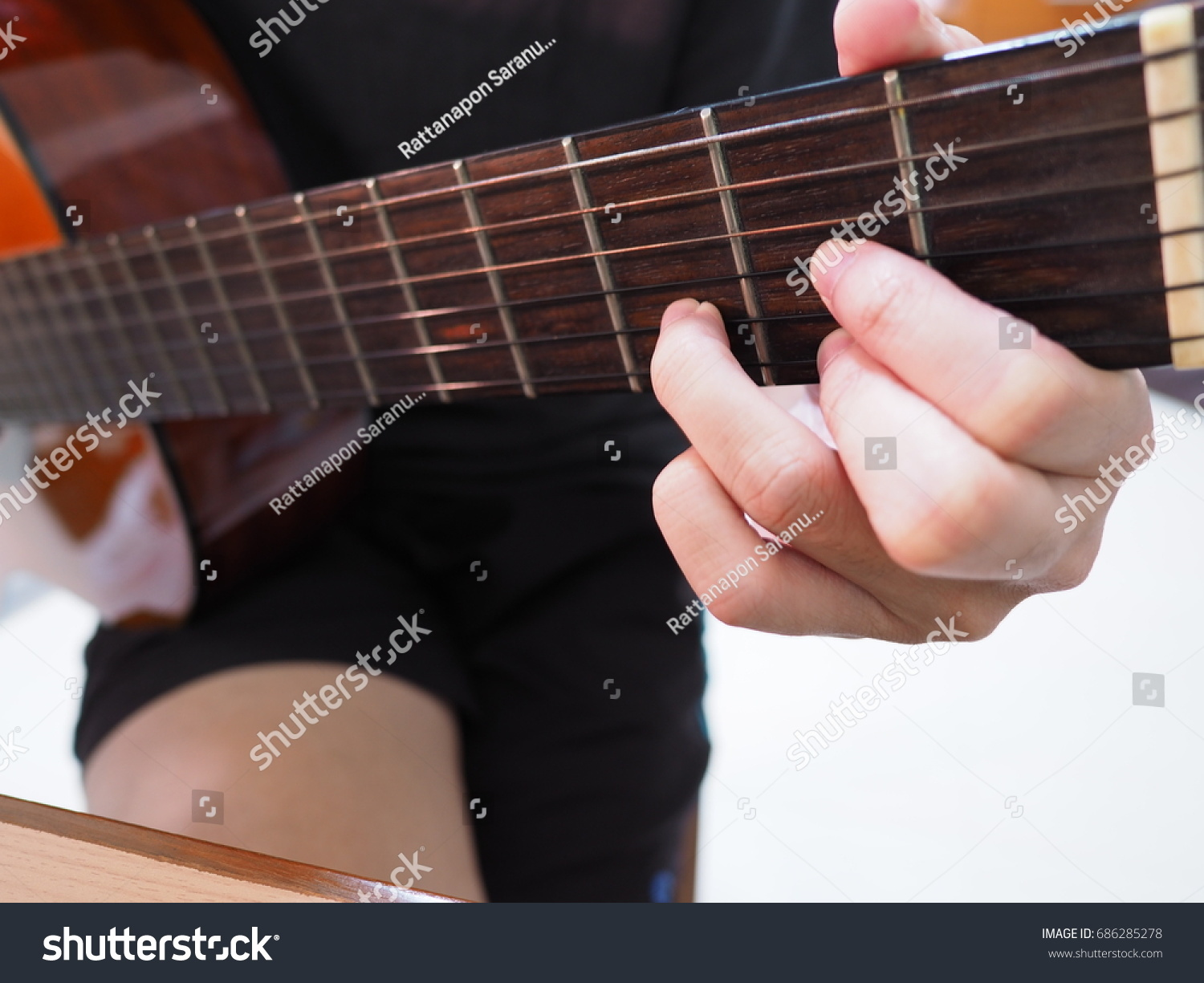 Guitarist Holding Classical Guitar D Chord Stock Photo Edit Now