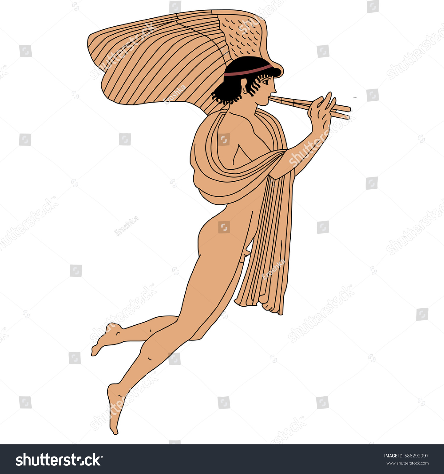 Vector image of ancient Greek god of love Eros. Red-figure pottery style.  Winged mythological male character playing the double flute.