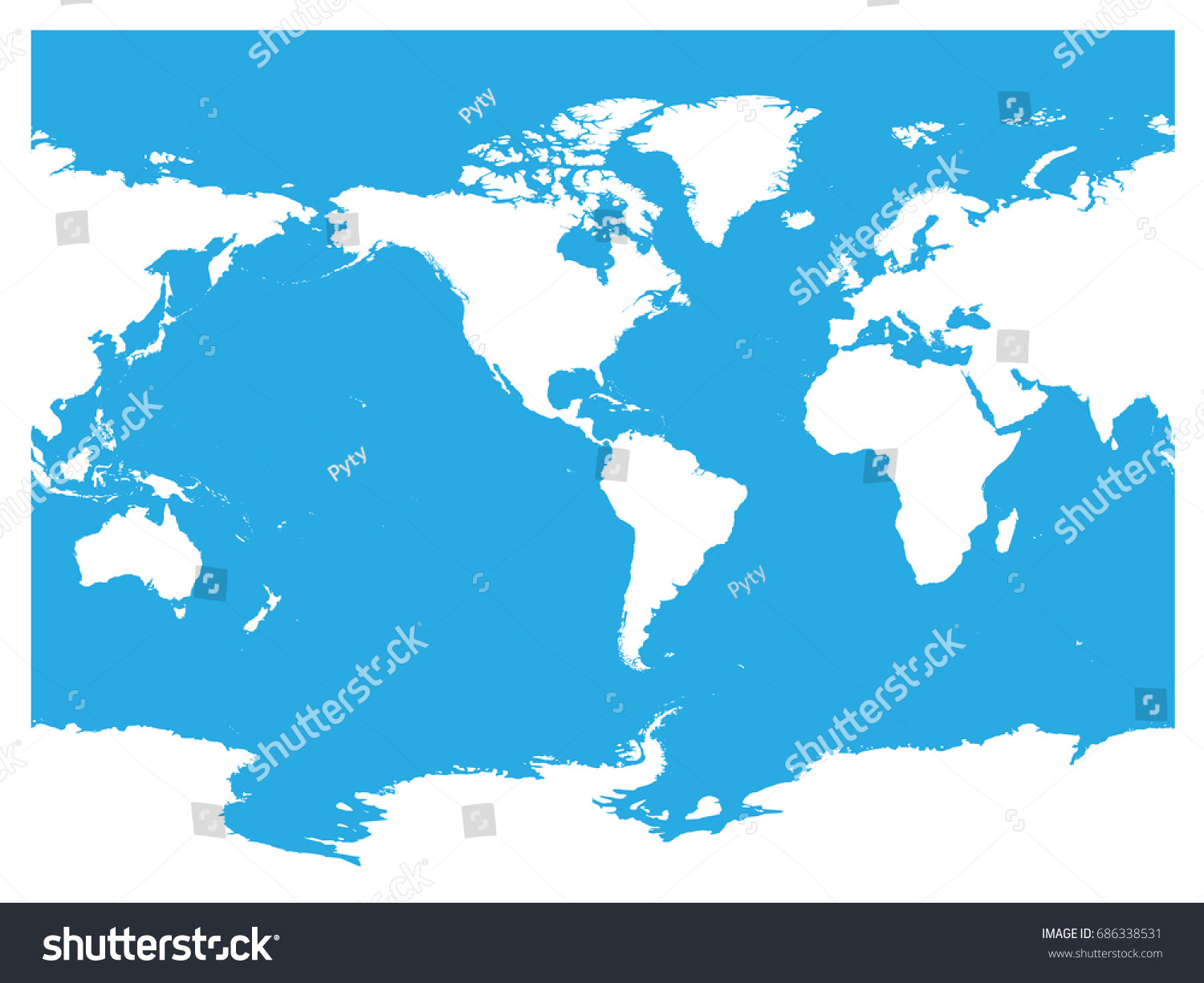 Australia pacific ocean centered world map vectores en stock australia and pacific ocean centered world map high detail white silhouette on blue background gumiabroncs Images