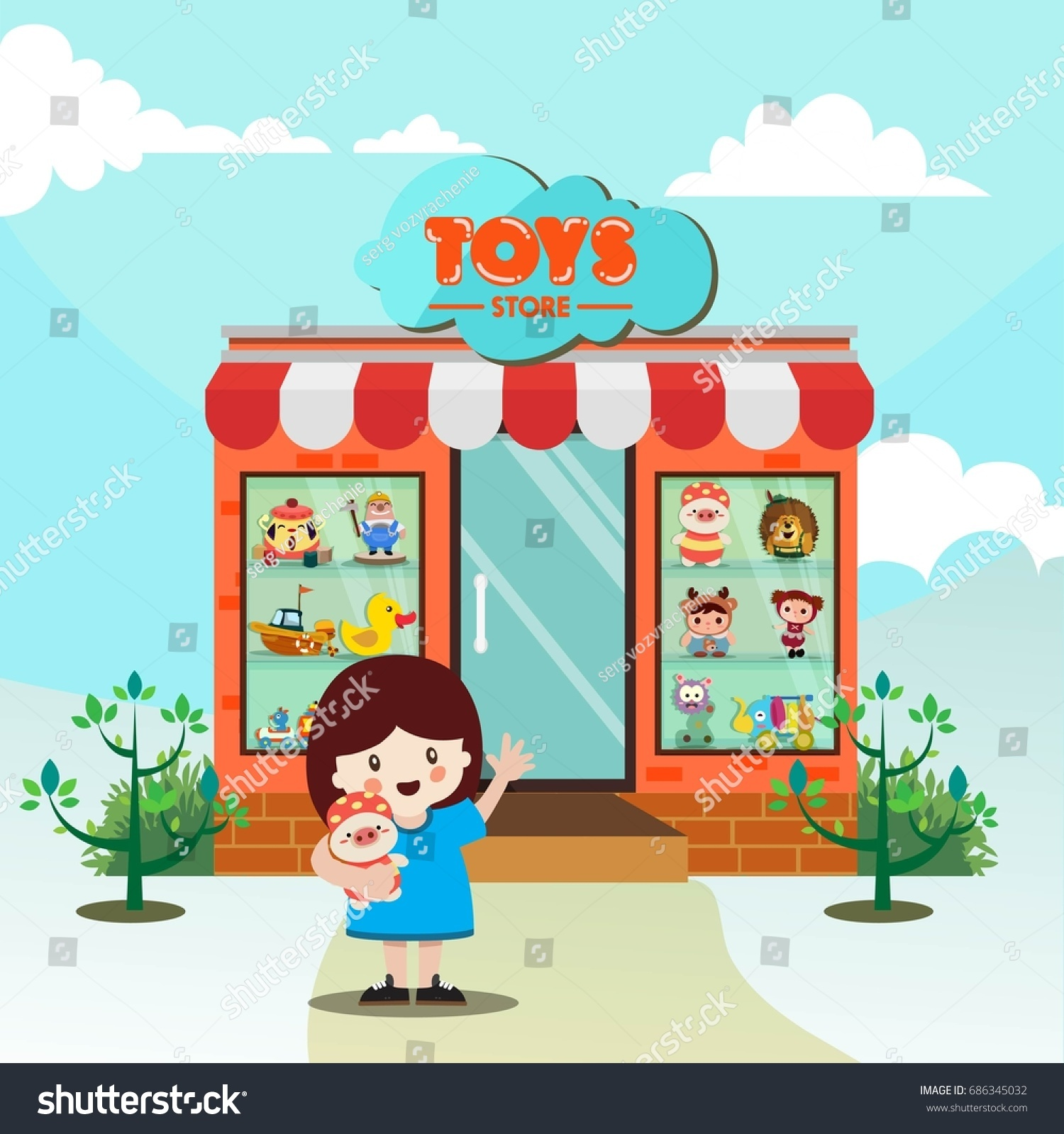 Childhood Background Toys Store Girl Icon Stock Vector Royalty Free
