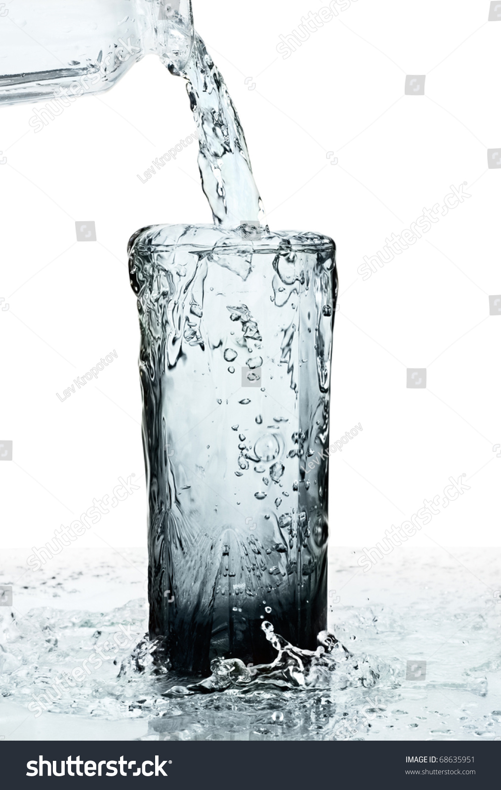 Background image overflow - Glass Of A Water With Overflow Isolated On White Background
