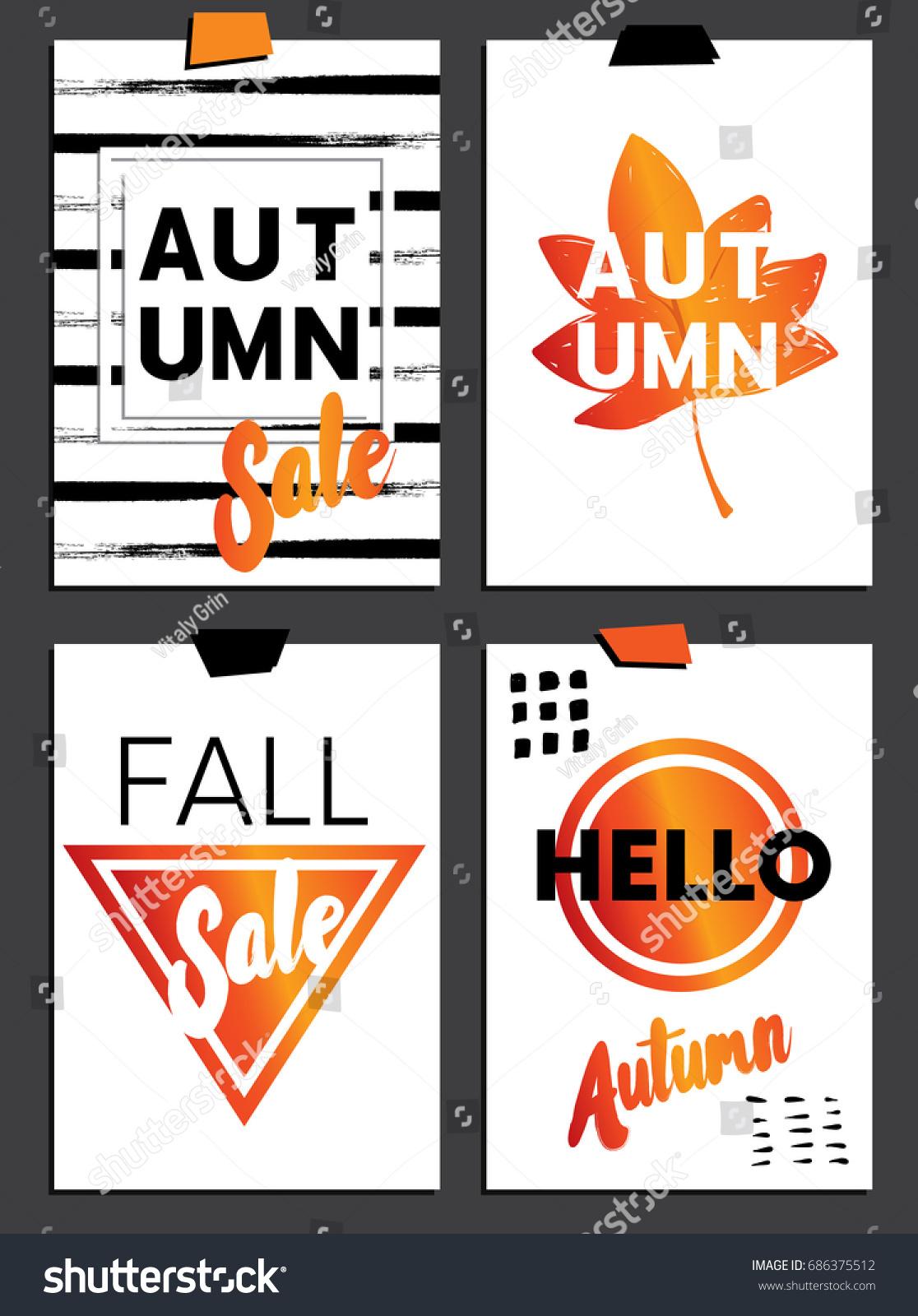 Set Readymade Designs Autumn Postcards Banners Stock Vector ...