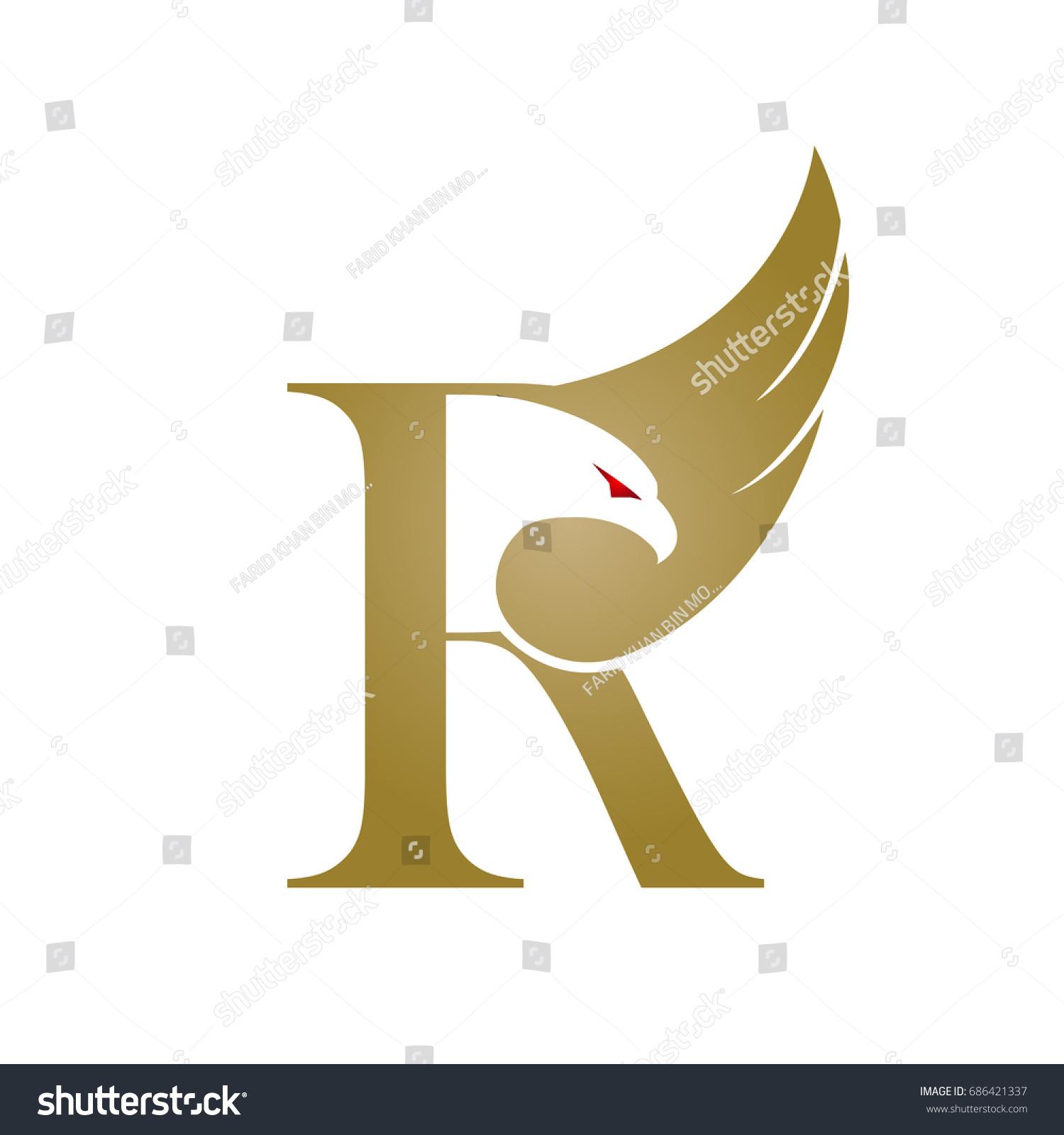 Vector Golden Eagle Single Letter R Stock Vector Royalty Free