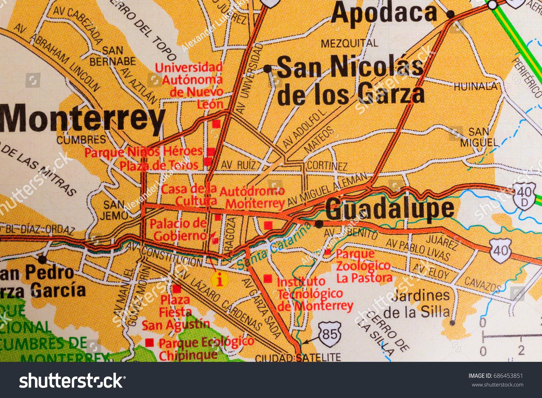 Monterrey Map Background Stock Photo 686453851 Shutterstock