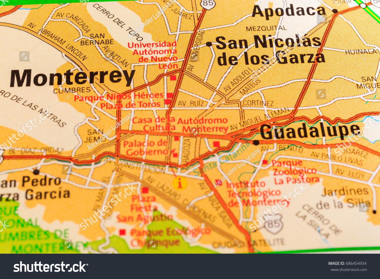 Monterrey Map Background Stock Photo 686454934 Shutterstock