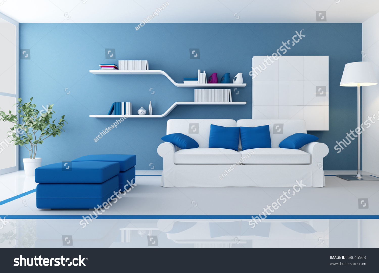 white couch in a blue modern living room rendering