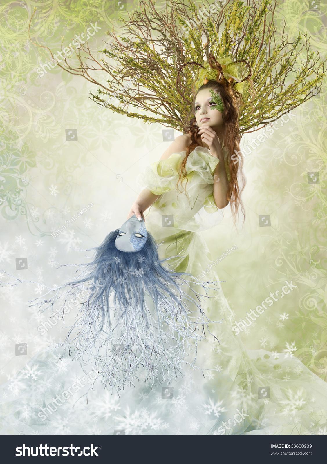 Fantasy Fashion Woman Holding Winter Spring Stock Photo 68650939 Shutterstock