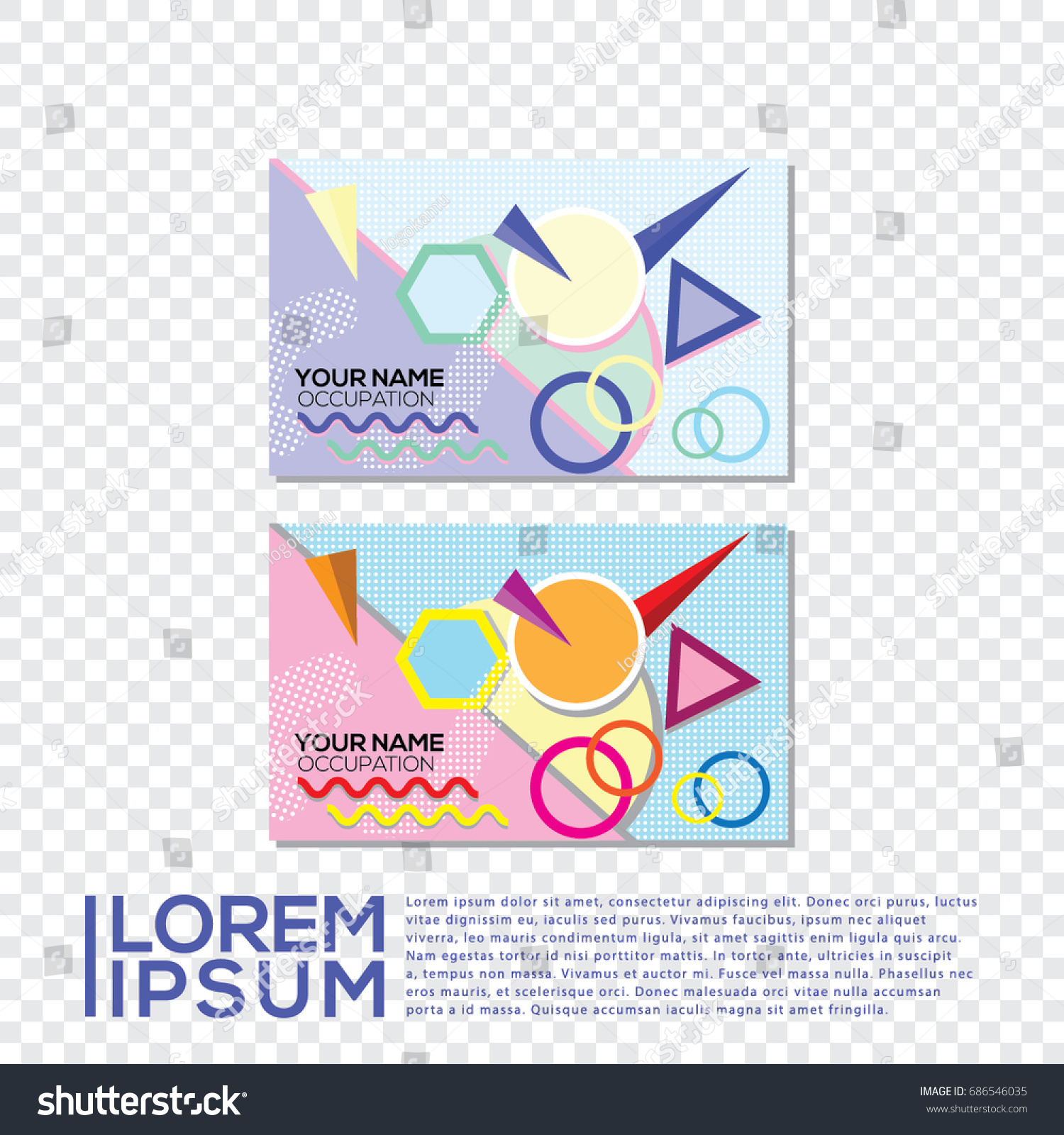 Business Card Memphis Pattern Vector Color Stock Vector (2018 ...
