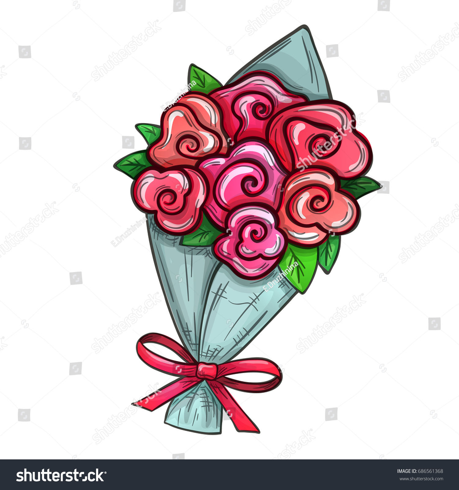 Colorful Sketch Style Illustration Bouquet Flowers Stock ...
