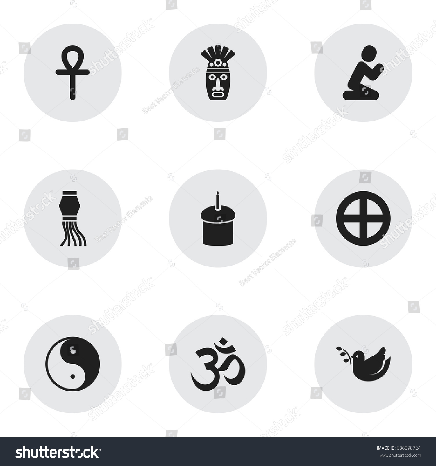 Set 9 Editable Faith Icons Includes Stock Vector Royalty Free
