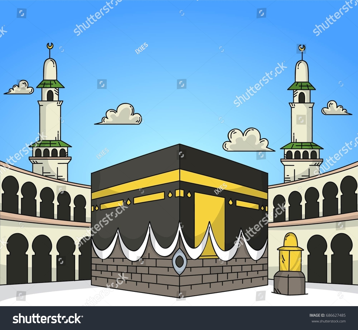 Kaaba Isolated Doodle Background Stock Vector Royalty Free 20