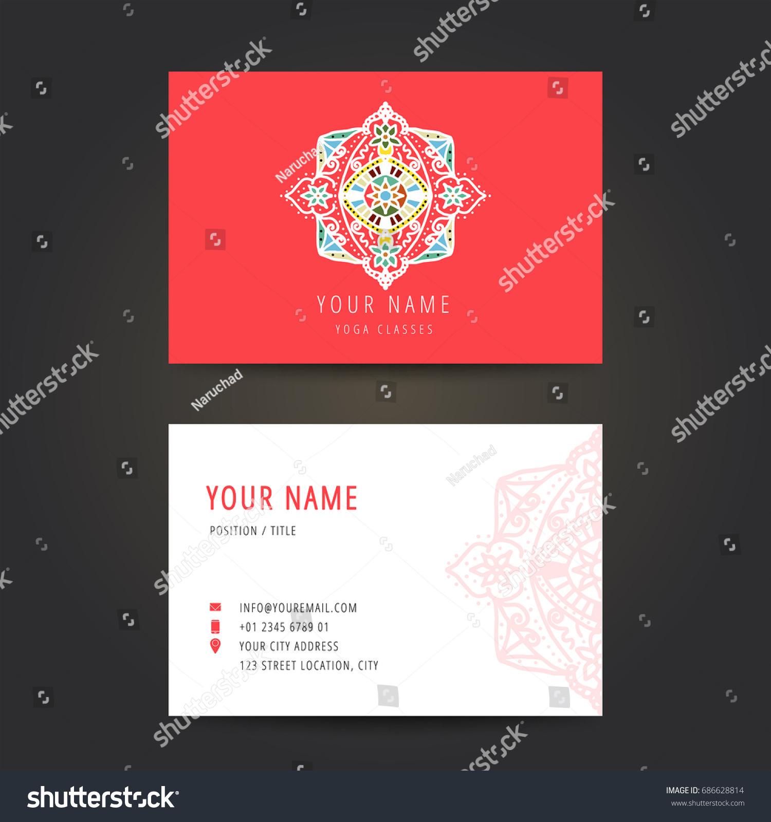 Design Template Yoga Studio Business Card Stock Vector