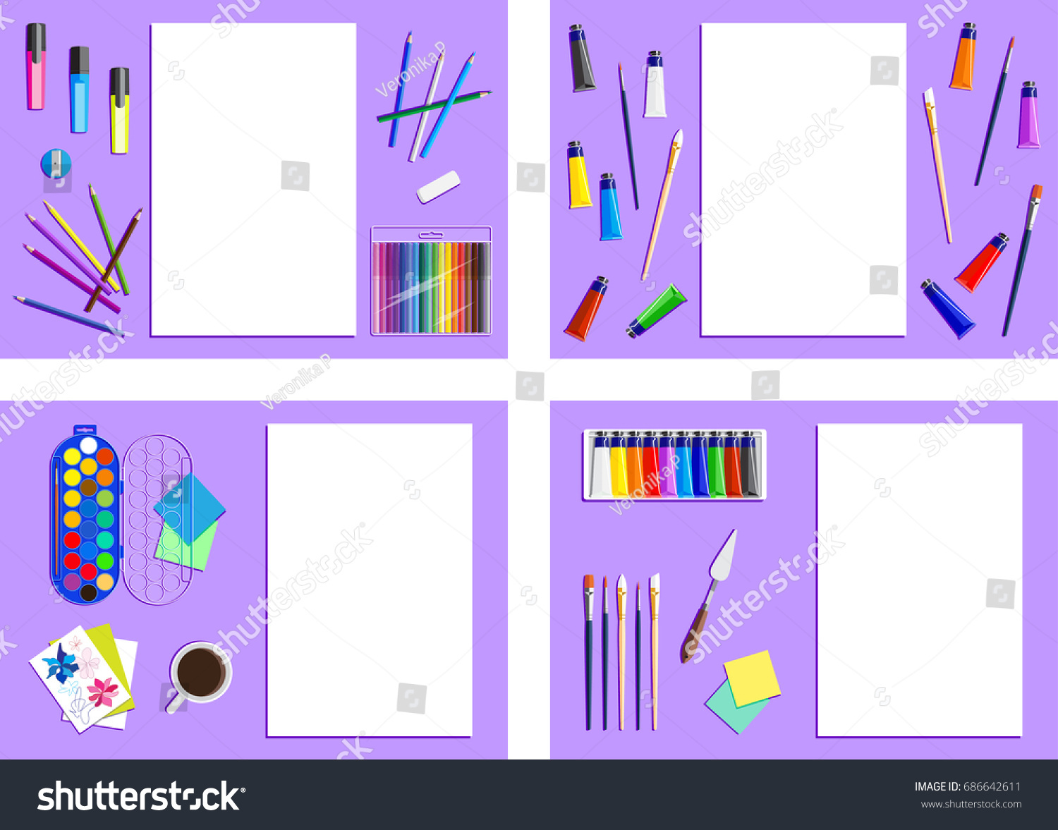 Set Frames Artists Supplies Drawing Tools Stock Vector (Royalty Free ...
