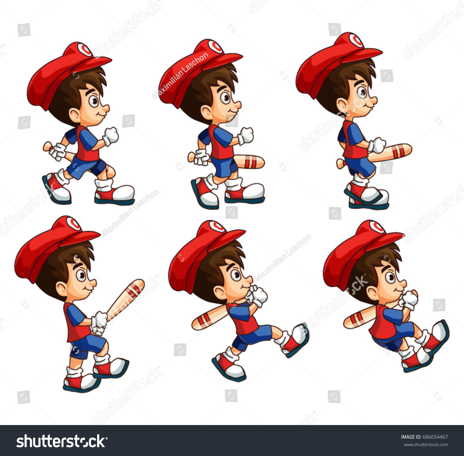 Mobile Game 2 D Assets Platformer Character Stock Vector (Royalty ...