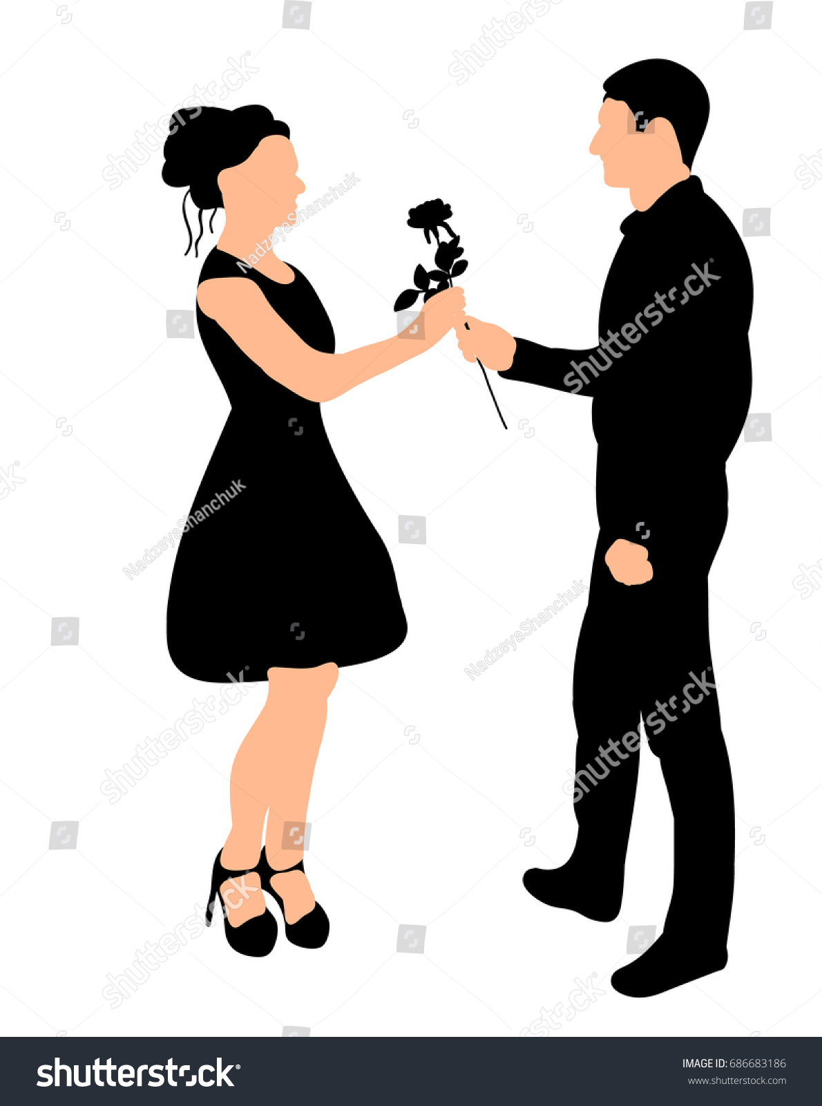 vector silhouette guy giving rose stock vector 686683186