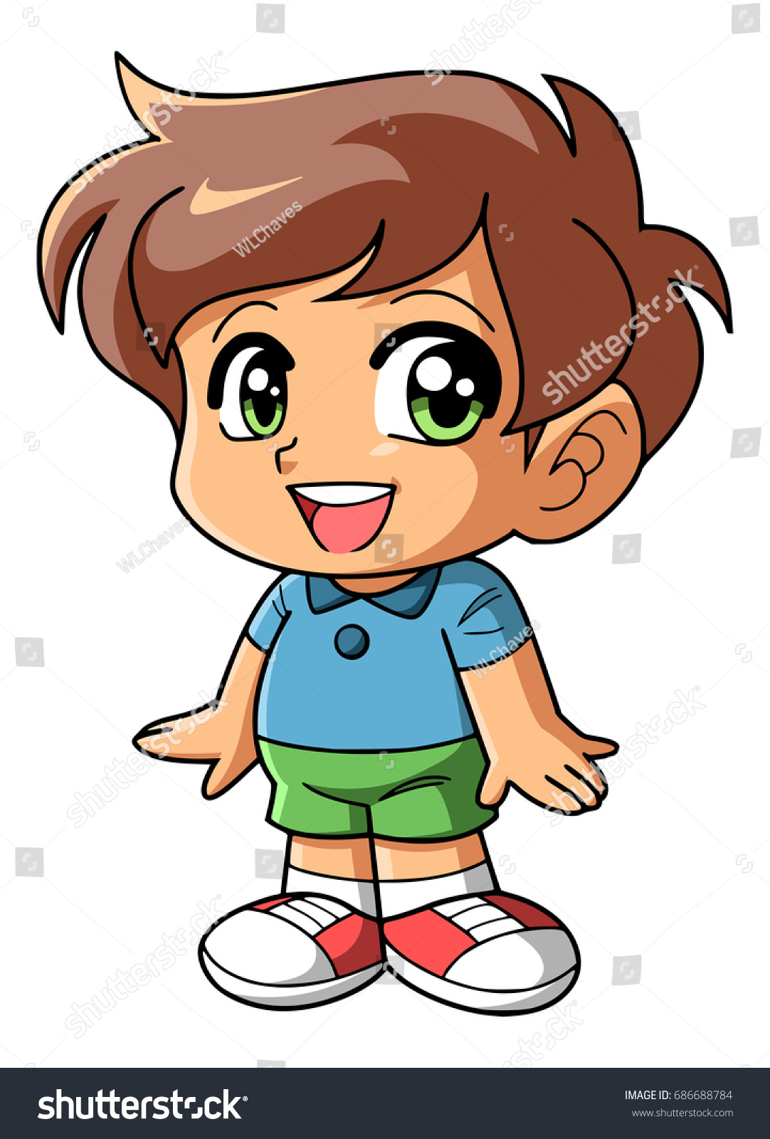 Anime chibi style colored image of a boy with brown hair and green eyes wearing
