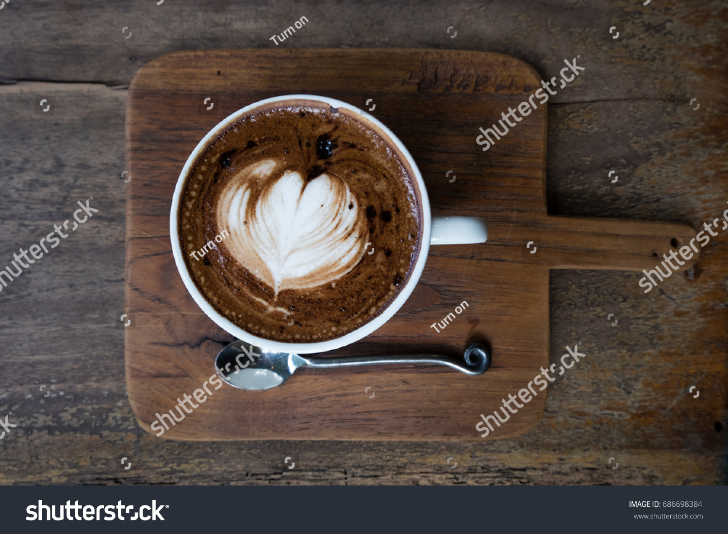 Mocha coffee on wooden table #686698384