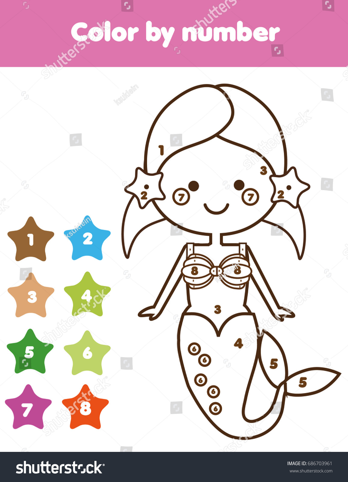 Childrens educational coloring activity book - Children Educational Game Coloring Page With Mermaid Color By Numbers Printable Activity