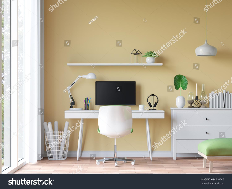 Modern Vintage Working Room Yellow Wall Stock Illustration ...