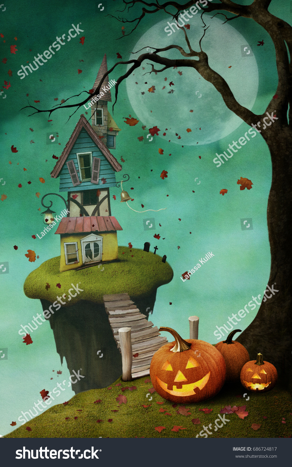 Holiday greeting card halloween house on stock illustration holiday greeting card for halloween with house on island and pumpkins kristyandbryce Gallery