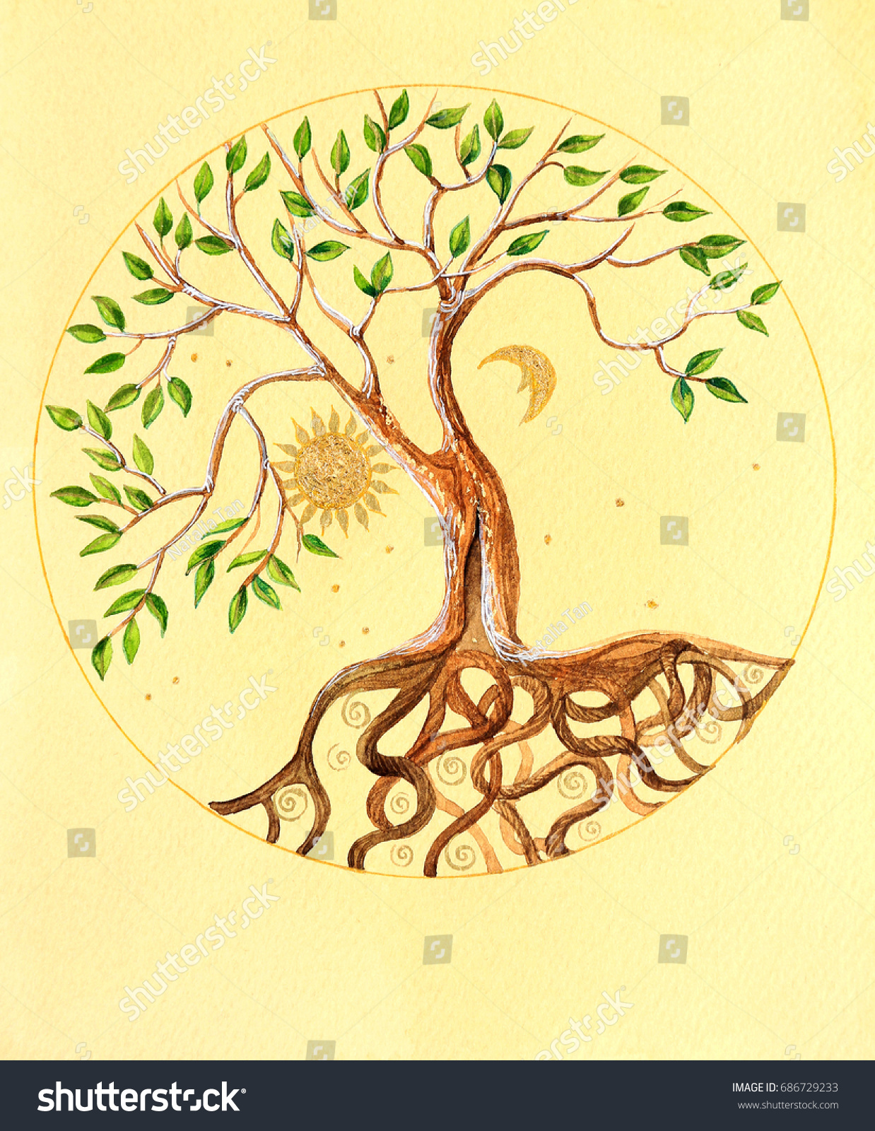 Watercolor Illustration Celtic Tree Life On Stock Illustration ...