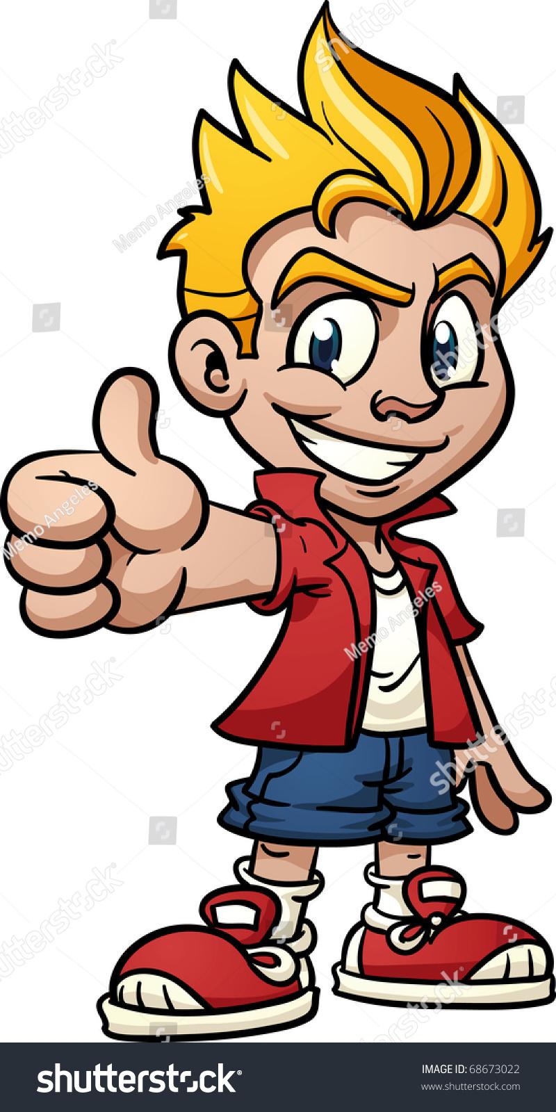 Cool Cartoon Kid Making Thumbsup Hand Stock Vector