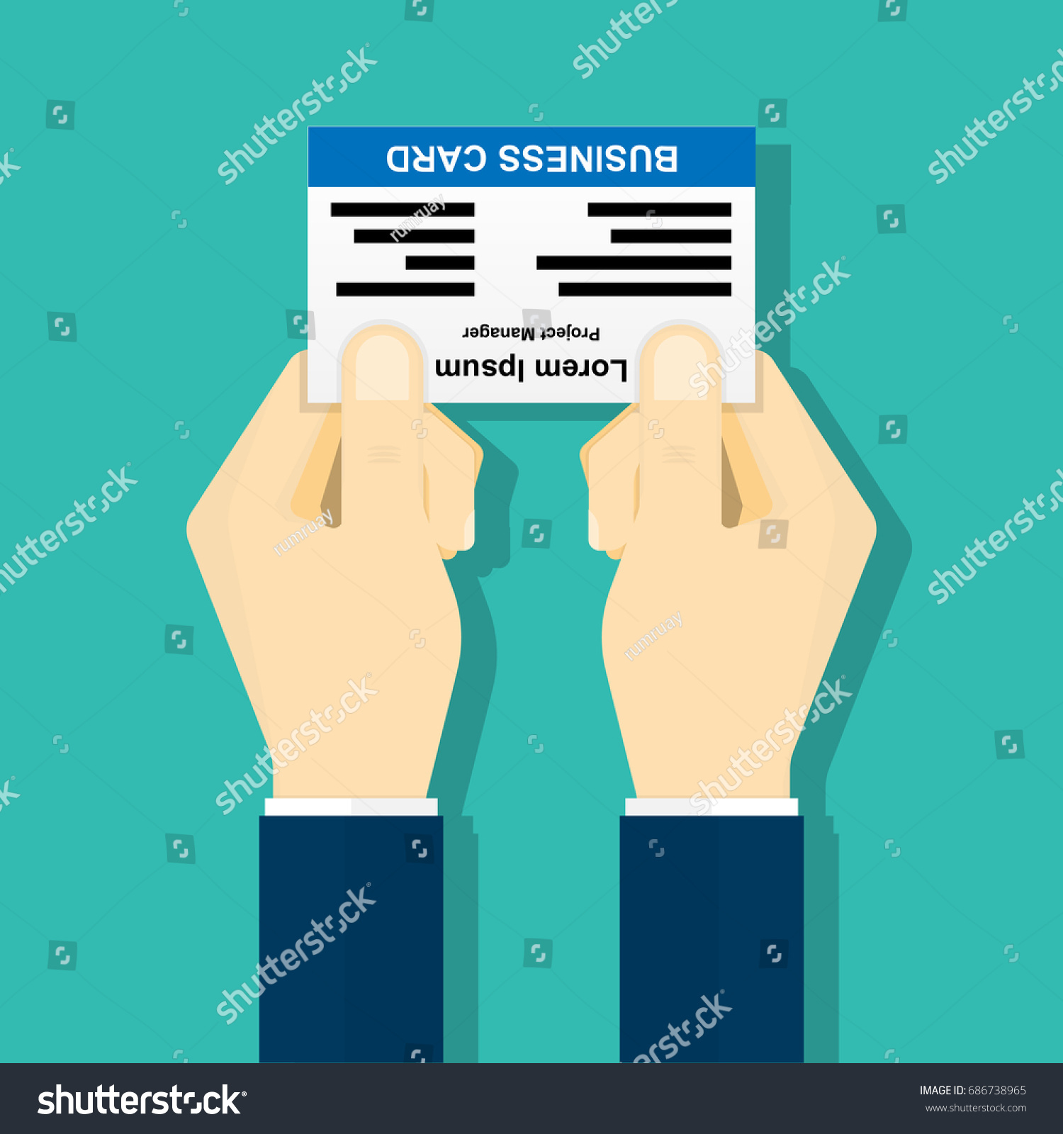 Business Card Exchanging Etiquette Businessman Holding Stock ...