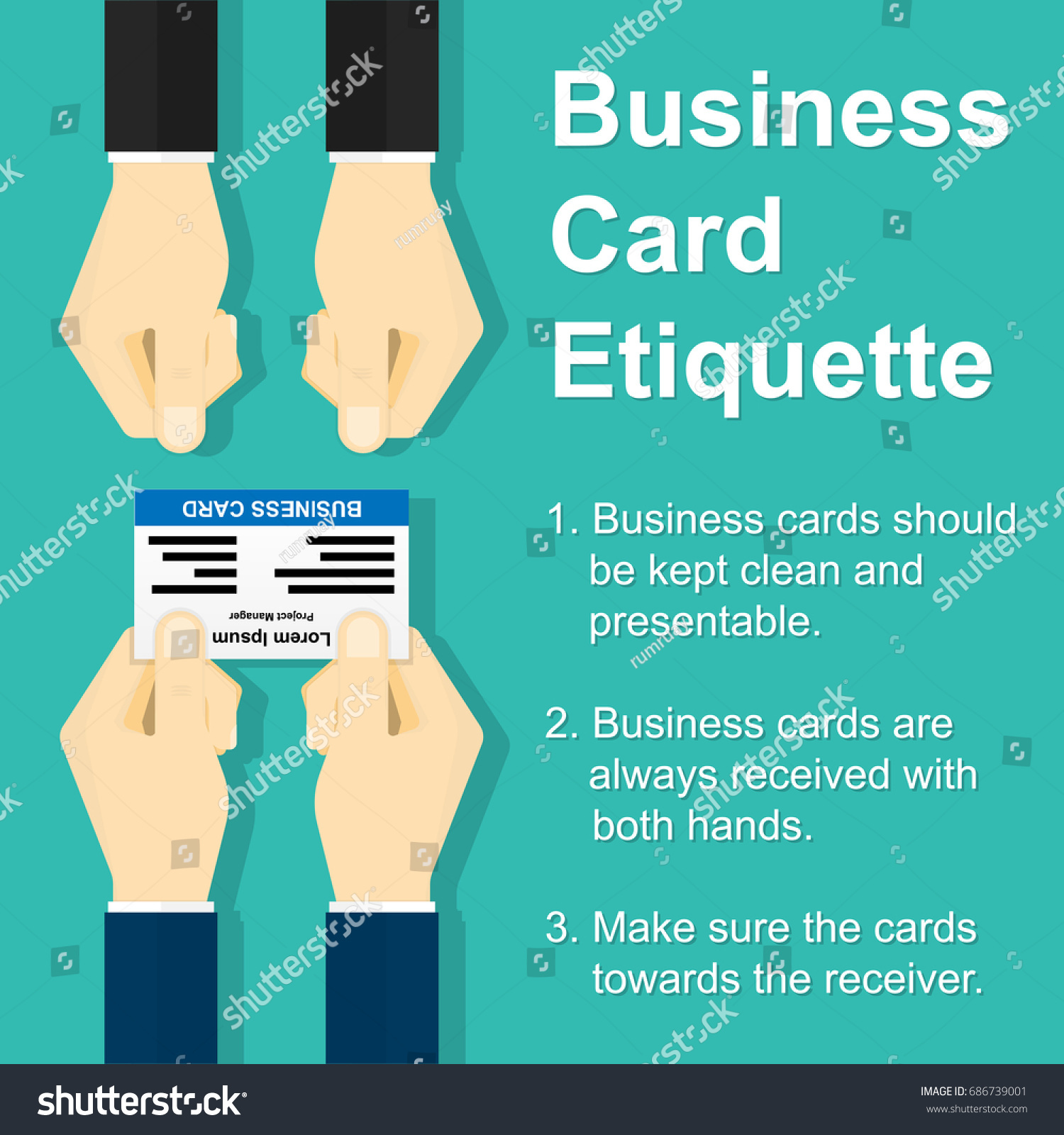 Business Card Exchanging Etiquette Businessman Holding Stock Vector ...