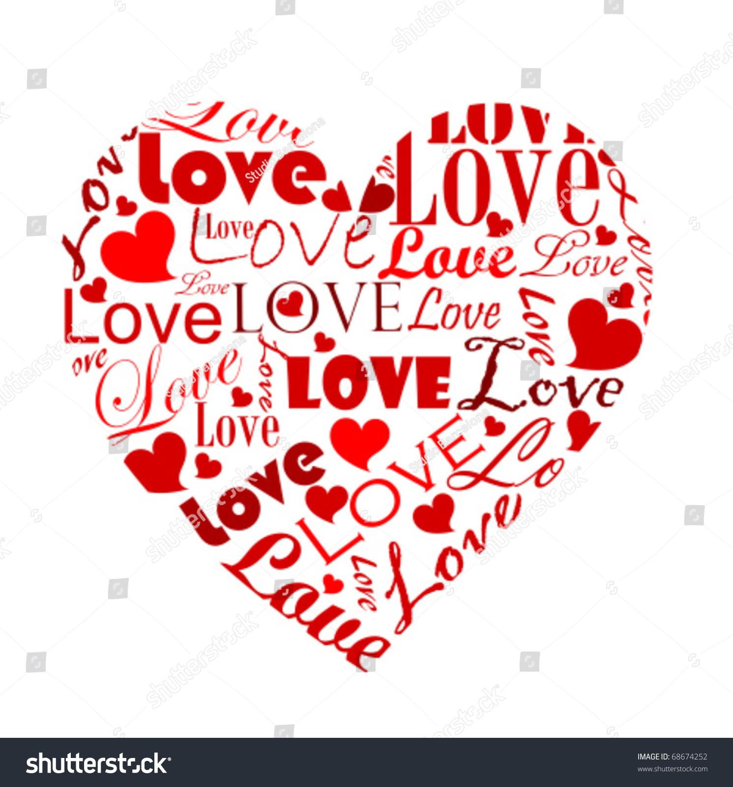 big heart made various love worlds stock vector 68674252