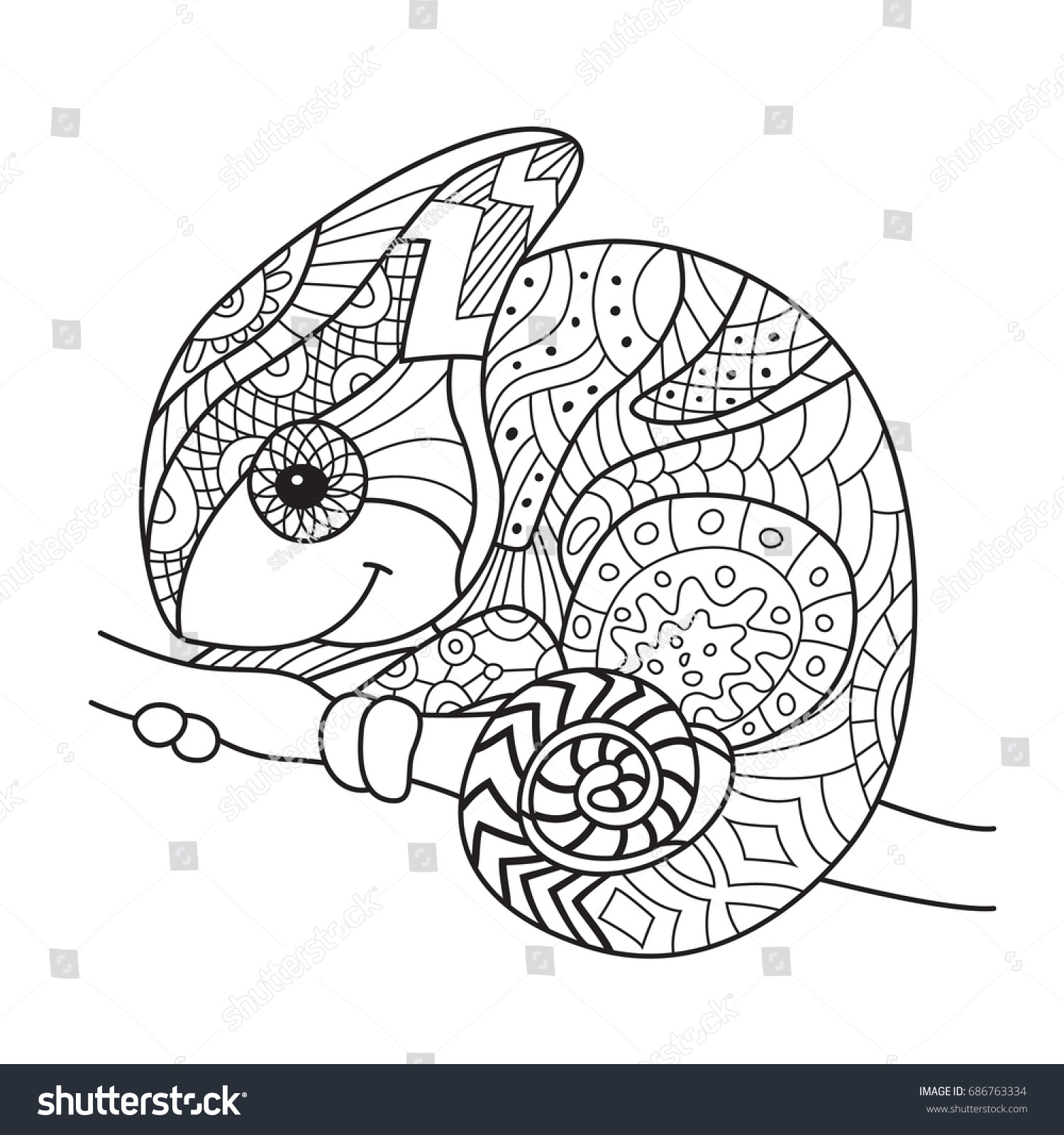 Doodle Coloring Book Page Funny Chameleon Stock Vector 686763334 ...