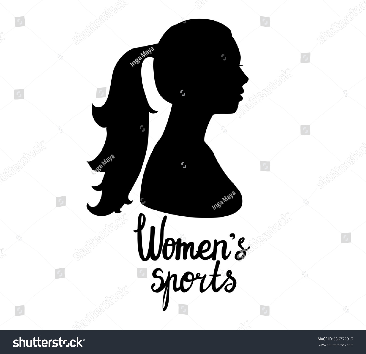 black female head silhouette side view stock illustration royalty